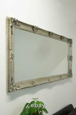 Extra Large Wall Mirror Silver Antique Wood Full Length 5Ft5 X 2Ft7 168cm X 78cm