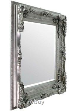 Extra Large Wall Mirror Silver Full Length Vintage Wood 4Ft X 3Ft 120cm X 90cm