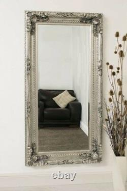 Extra Large Wall Mirror Silver Full Length Vintage Wood 6Ft X 3Ft 183cm x 91cm