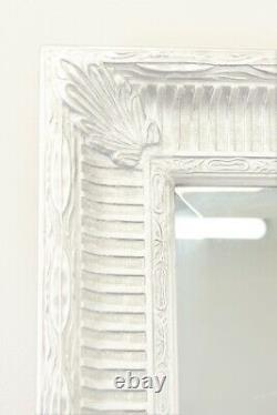 Extra Large White Antique Wall Mirror Full Length 5ft7 x 3ft7 172cm x 111cm