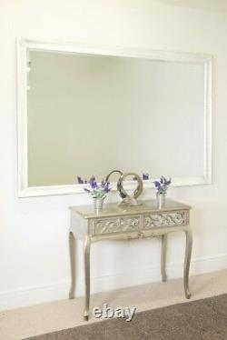 Extra Large White Antique Wood Full length wall Mirror 6Ft7 X 4Ft7 201 x 140cm