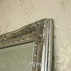 Extra Large silve full length wall floor mirror shabby vintage chic bedroom home