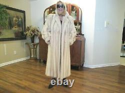 Extraordinary Female Creamy White/tan Cross Mink Full Length Coat Sz Lg
