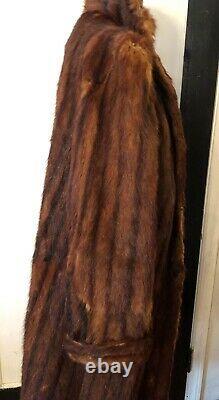 FULL LENGTH MINK FUR COAT MAHOGANY DARK BROWN STRIPED PELTS LARGE Collar 1950s M