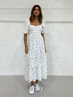 Faithfull The Brand Gianna Floral Print Midi Dress Size Large 12 14 Linen BNWT