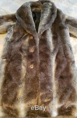 Falcone Men's Full Length Fox Fur Coat with Silver-Brown Fox Fur Size Large
