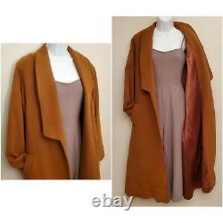 Fleurette VINTAGE 100% Cashmere full length Long Over Coat Brown Sz Large
