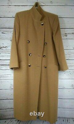 Fleurette Wool Coat Full Length Double Breasted Size Medium/Large