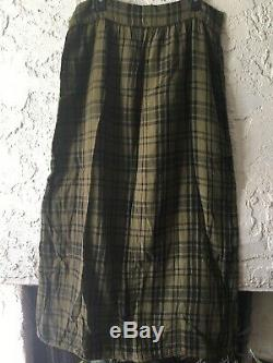 Free People CP Shades Plaid Cotton Maxi Skirt Grunge Sold Out Olive Black L NWOT