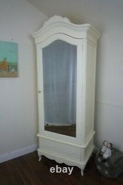 French Charroux Single Armoire Wardrobe In Cream (Large) Shabby Chic Style