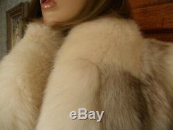 Full Length 52 Platinum Fox With Shadow Fox Fur Tuxedo Coat Size 12/14-L
