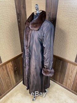 Full Length Brown Sheared & Long Haired Mink Reversible Taffeta Fur Coat Large