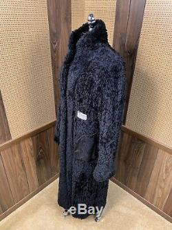 Full Length Canada Dyed Black Knit Sheared Beaver Fur Coat Jacket Large 10 12