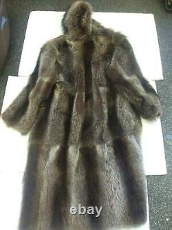 Full Length Canadian Raccoon Fur Coat With Hood, Large Sized, Used Nice Cond