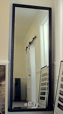 Full Length Mirror Extra Large Industrial Floor Standing Black Steel Mirror