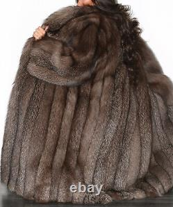Full Length Real Silver Saga Fox Blue Frost Fur Coat Indigo Long Jacket Size L