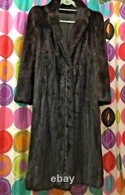 Full Length brown Mink Fur Coat jacket Size L