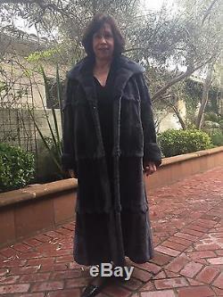 Full length fur coat, sheered beaver, extra large, dark gray, scalloped edge