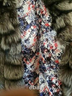 Full length silver fox fur coat with hood