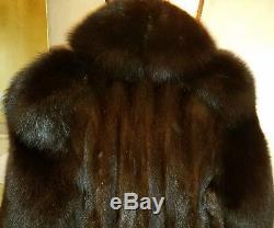 Genuine Mahogany Mink Fur Coat Full Length Long Hair Fox Collar & Sleeves 12 Lrg