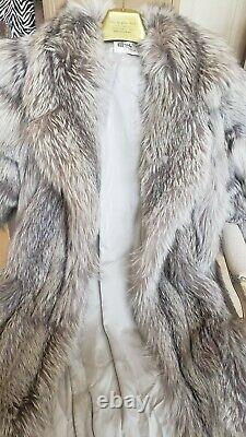 Genuine Real Norwegian Platinum Fox Fur Coat Full Length Chicago Furrier L/XL 12