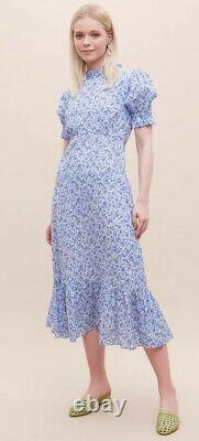 Ghost blue floral solene prairie midi maxi dress size L 14 Anthropologie Rixo