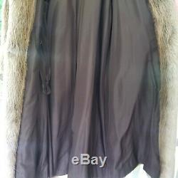 Gorgeous Brown Full Length Real Beaver Fur Coat Womens Large Extra Large XL Long