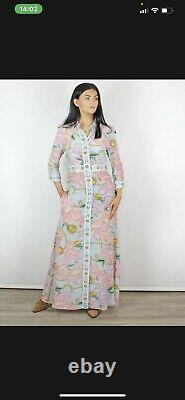 HAYLEY MENZIES Blue Floral Print Chain Maxi Dress Size Large Stunning