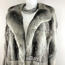 I. Magnin Chinchilla 100% Authentic Fur Runway Long Full Length Coat Large/ XL