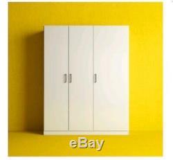 Ikea DOMBAS Large Size 3 Door Wardrobe, White, 140x181cm, Adjustable Shelves Hinges