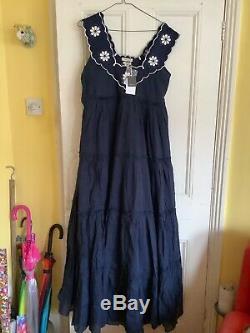 Innika Choo Ramie Big Frill, long navy large, brand new dress