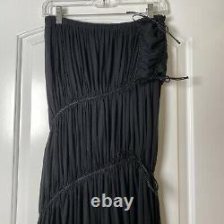 Issey Miyake Black Draped Tie Detail Long Skirt