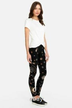 Johnny Was Callisto Leggings Legging Galaxy Embroidery Stars Pants Velvet L NEW