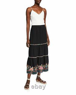 Johnny Was Chandra Women's Skirt Large L Black Embroidered Linen Tiered Maxi