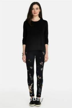 Johnny Was Cyllene Black Galaxy Stars Leggings Cotton Flowers Embroidery L NEW