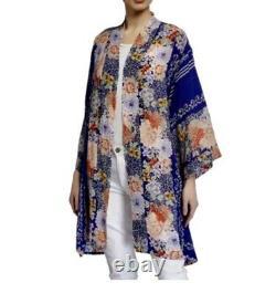 Johnny Was Size 3X Blati Printed Full Length Kimono Blue Floral
