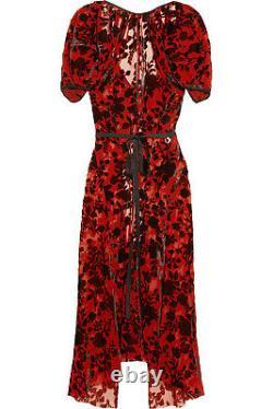 Junya Watanabe comme des garçons Sheer Red Blooms Black Velvet dress