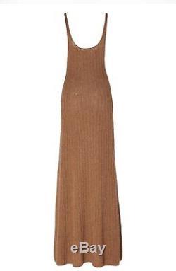 Khaite Brown Ribbed-Knit Sleeveless Maxi Cashmere Dress. Large. SS20 Runway