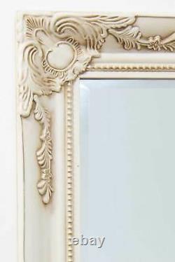 Large Antique Long Ivory Wall full length Mirror 5Ft7 X 2Ft7 170cmx79cm