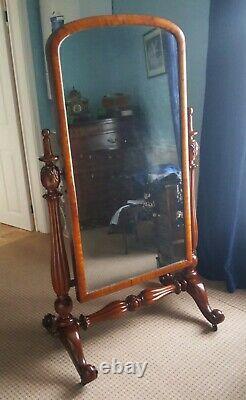 Large Antique William 1V Mahogany Cheval Dressing Full Length Mirror