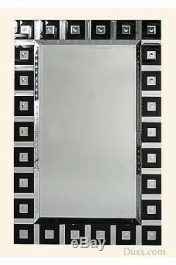 Large Black Contemporary Beveled Frame Wall Mirror 158x104cm