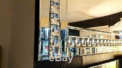 Large Crystal Glass Silver Bevelled Wall Mirror Diamante Full Length 180x70cm