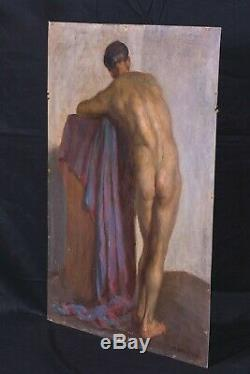 Large Early 20th Century Full Length Nude Male Study Portrait Antique Painting