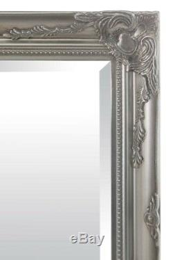 Large Full Length Classic Ornate Styled Silver Mirror 5Ft7 X 2Ft7 170cm X 79cm