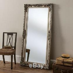 Large Full Length Silver shabby chic Antique Leaner Floor wall Mirror 5ft9x2ft9