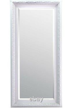 Large Full length White Ornate Long Mirror 5ft10X2ft10 177cmX86cm