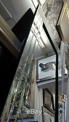 Large Glass Silver Bevelled Wall Mirror Leaner Art Deco Full Length 180x70cm