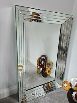 Large Modern Silver Full Length Bevelled Floor Wall Mirror 121cm x 81cm XL