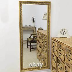 Large Shabby Full Length Leaner Long Gold Wall Mirror 5Ft4 X 2Ft5 163cm X 73cm