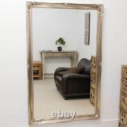 Large Silver Antique Full Length Long Big Wall Mirror 5Ft6 X 3Ft6 167cm X 106cm